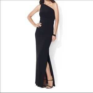 Lauren Ralph Lauren One Shoulder Evening Gown